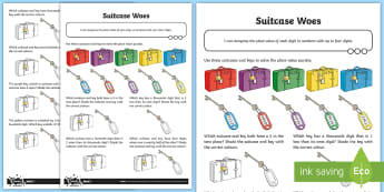 Place Value Four-Digit Numbers Travel Themed Activity Sheet - singapore maths, maths mastery, digit value, number value, holiday, cross-curricular, cross curricul