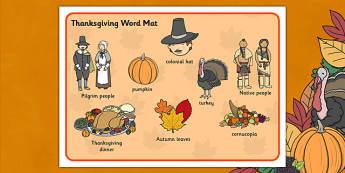 Thanksgiving Word Mat - mats, words, literacy, thanks, giving