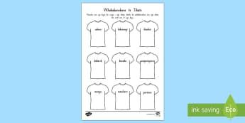 Colour the T-Shirt Activity Sheet Te Reo Maori - Colour the T-Shirt, Activity Sheet, Ngā Tae, Ngā Kara, Te Reo Māori