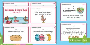 Brenda's Boring Egg Talk Cards - twinkl originals, fiction, KS1, EYFS, story sack, speaking and listening, guided reading, comprehens