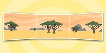 Handa's Hen Small World Background - Handa's Hen, Eileen Browne, Africa, African culture, African animals, counting, Mondi, sunbirds, bullfrogs, spoonbills, story, story book, story book resources, story sequencing, story resources, Small World, back