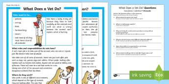 What Does a Vet Do? Differentiated Reading Comprehension Activity English/Italian - People Who Help Us, Vet, veterinarian, role, job, what does a vet do, responsibilities, duties, skil