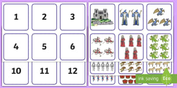 Knights and Castles Themed 1-20 Number and Quantity Matching Cards - Knights and Castles Themed 1-20 Number and Quantity Matching Cards - numeracy, numbers, subitising,