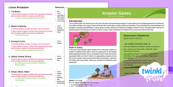 Twinkl Move - Y3 Invasion Games: Unit Overview - Invasion Games, overview, attack, defend, attacker, defender, possession, marking, dodging, netball,