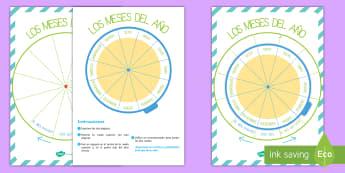 Pack de exposición: Los meses del año - calendario, círculo, ciclo, meses del año, meses, mes, año, rueda, orden, ordenar, exposición, e
