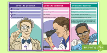 Write Like a Scientist Display Poster - Science journal, science notebook, science recording, science writing, experiment report, experiment