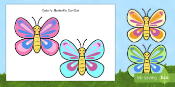 Colorful Butterfly Cut-Outs - insects, butterfly, cut-outs, display, nature, spring, cutting, fine motor skills