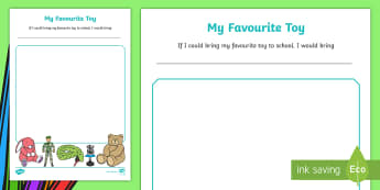 EYFS My Favourite Toy Activity Sheet - first week back, back to school, new starters, all about me, toys, worksheet