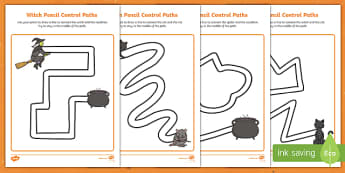 Witches Pencil Control Path Activity Sheets