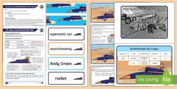 KS1 BLOODHOUND Resource Pack - SSC, Supersonic, STEM, display, Challenge, Problem Solving, Problems, Science, Engineering, Technolo