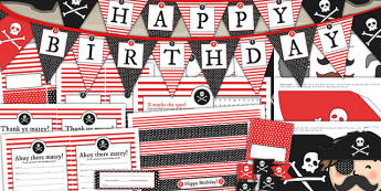 Pirate Themed Birthday Party Pack - birthdays, parties, party