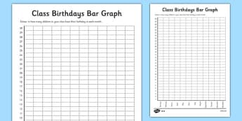 Class Birthdays Bar Graph - class birthdays, bar graph, graph