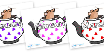 Months of the Year on Mouse in Teapots - Months of the Year, Months poster, Months display, display, poster, frieze, Months, month, January, February, March, April, May, June, July, August, September