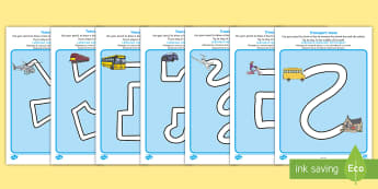 Transport Pencil Control Path Worksheet / Activity Sheets English/Romanian - transport, pencil control, pencil control worksheets, fine motor skills, EAL