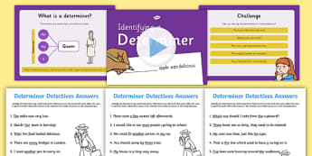 Identifying a Determiner Lesson Teaching Pack - pack, teaching