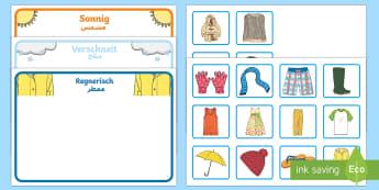 Deutsch-Arabische Kleidung zuordnen Aktivität - Deutsch lernen, Deutsch-Arabische Materialien, Deutsch Arabische Materialien, Deutsch Arabische Lehr
