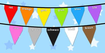 Colours on Bunting German - colour, display, keywords, germany, german, languages, translated