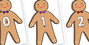 Numbers 0-50 on Gingerbread Man - 0-50, foundation stage numeracy, Number recognition, Number flashcards, counting, number frieze, Display numbers, number posters