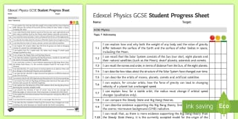 Edexcel Style GCSE Physics, Astronomy Progress Sheet - asteroids, comets, big bang theory, red-shift, telescopes