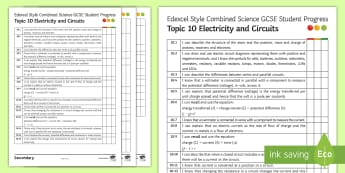 Edexcel Style, Combined Science Electricity and Circuits Progress Sheet - potential difference, electrical circuits, power, plugs, fuses