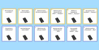 General Conversation Question Pair Cards Technology in Everyday Life - french, Conversation, Speaking, Questions, Teschnology, Technologie, Social Media, Mobile, Internet, Computer, Ordinateur, Portable, Réseaux, Sociaux, Cartes