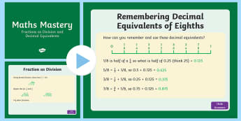 Year 6 Maths Mastery Fractions as Division and Decimal Equivalents PowerPoint