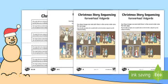 Christmas Story A4 Sequencing English/Afrikaans - December, Bethlehem, Jesus, celebrate, traditions, Desember, EAL
