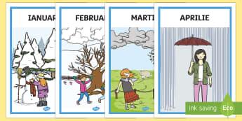 Lunile anului - Planșe - vremea, fenomenele naturii, română, materiale, lunile anului, anotimpuri, vremea, fișe, planșe,