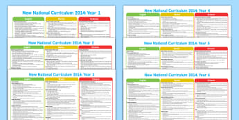 2014 National Curriculum Overview Posters Year 1 o 6 - teaching aid, poster