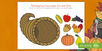 Thanksgiving Cornucopia Cut and Stick Activity Sheet - Thanksgiving activity, thanksgiving craft, cornucopia, thanksgiving dinner activity, Fine Motor Skil