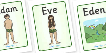 Adam and Eve Creation Story Display Posters - Adam, Eve, Eden, serpent, fruit, earth, garden, creation, display, poster, sign, creation story, paradise, sea creatures, birds, stars, moon, sun, tree, evil, knowledge, animals, sky, night, day