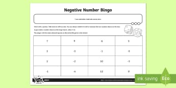 Negative Number Bingo Activity Sheet
