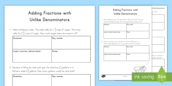 Adding Fractions with Unlike Denominators Activity Sheet - adding, fraction, problem solving, word problems, unlike denominators, worksheet, equivalent, proble