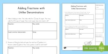 adding fractions with unlike denominators worksheet