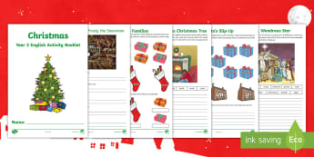 Year 3 Christmas English Activity Booklet - holiday booklet, homework booklet, y3, spag, writing activity, reading activity, xmas