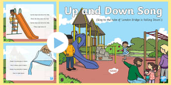 Up and Down Song PowerPoint - up, down, opposites, early concepts, slide, steps, stairs, bricks, towers, knock down, scoop, pour