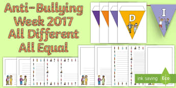 CfE First Level Anti-Bullying Week 2017 Display Pack - Bunting, Borders, Difference, Prejudice  Equality, Fair, Fairness, Bully, Friendship, Relationship,,