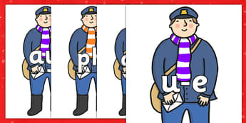 Phase 5 Phonemes on Jolly Christmas Postman to Support Teaching on The Jolly Christmas Postman - Phonemes, phoneme, Phase 5, Phase five, Foundation, Literacy, Letters and Sounds, DfES, display