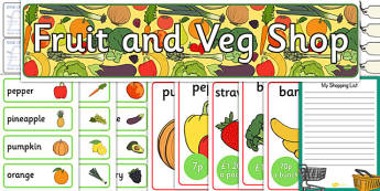 Shop Role Play Resources - Role Play Pack - Fruit and Vegetable Shop Role Play Pack, fruit, vegetables, shop, produce, customer, till, role play, display, posterrole play, Display signs, display, labels, pack