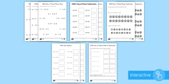 100th Day of School Math Go Respond Worksheet / Activity Sheets - 100th Day of School, place value, algebra, money, order of operations