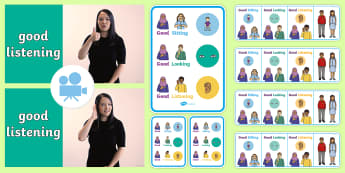 Good Sitting, Good Looking, Good Listening British Sign Language (BSL) Video Pack - BSL Resources, British Sign Language, visual prompts, classroom expectations, classroom management,