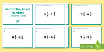 Subtracting Mixed Numbers Challenge Cards - addition, subtraction, adding fractions, subtracting fractions, mixed numbers fractions, fourth grad