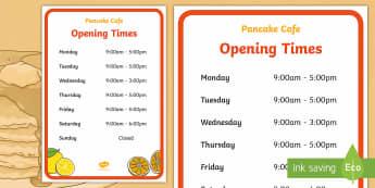 Pancake Cafe Opening Times Role Play Signs - Pancake Day UK Feb 28th, shrove Tuesday, pancakes, lent, pancake day
