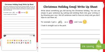 Christmas Holiday Emoji Write Up Activity Sheet - Recount, Writing, Worksheet, My Holidays, Back to School, First Week Back