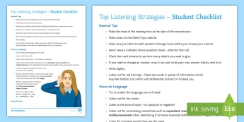 My French Listening Strategies Top Tips - KS3, KS4, activities, checklist, revision, skills,French