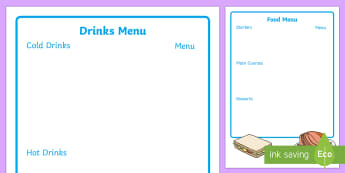 Café Menu Writing Frame - café menu, writing frame, menu writing frame, page borders, template, aid, list, fill in, cuisine, food and drink, roleplay, restaurant