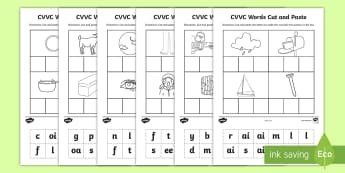 Phase 3 to 5 CVVC Words Cut and Paste Activity - phase 3, Phase 4, Phase 5, cvc, CVVC, words, cut, paste,  cvvc, phase 3, cvc wods, pase 5