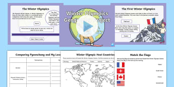 KS1 Winter Olympics Geography Project Resource Pack - 2018 Winter Olympic Games, pyeongchang, human and physical geography, mapping, identifying countries