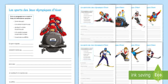 Winter Olympics Writing Frames Pack French - structured, writing, sports, opinions, jeux, olympiques,French