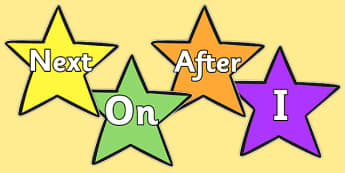 Sentence Starters on Stars - Sentence starter, writing sentences, vocabulary, writing aid, how to start a sentence, the, next, there